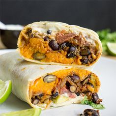 Sweet Potato Burritos - bursting with Mexican flair and tantalising flavours, this authentic recipe is easy to make for one or the whole big family!