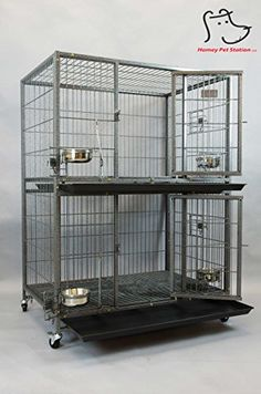 """New 37"""" Homey Pet Two Tier Pet Dog Cat Cage with Feeding Door and Bowls *** For more information, visit image link."""
