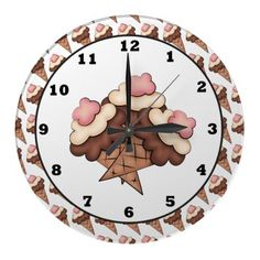 Ice Cream Fun Wall clock by DoodlesSweetTreats