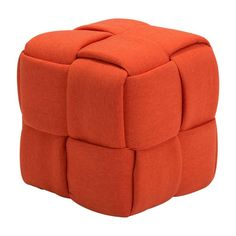 Checks Stool in Orange - Zuo Modern with perfection, this large weave square ottoman is a must for any room that could use extra seating. Bold design is lightweight with quality construction and a firm seat.