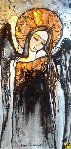"Beata  Raczyńska: "",,Noc...,,"" Painting Inspiration, Art Inspo, Angel Artwork, Angel Images, Illustration Art, Illustrations, Encaustic Art, Leaf Art, Aboriginal Art"