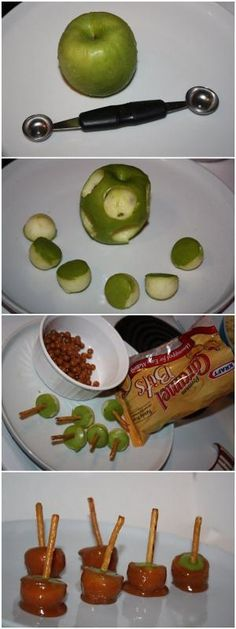 Mini Caramel Apples. Ah! i love treats and i love little things. So cute by sarah.koch.94