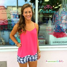 Pink Bee | Lilly Pulitzer Summer 2014 | Callahan Shorts Tusk in Sun | Dusk Top Lipstick Pink