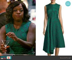 Annalise's green chevron patterned dress on How to Get Away with Murder.  Outfit Details: https://wornontv.net/60735/ #HTGAWM