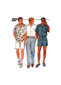 Butterick 3777 Mens' Casualwear: Loose Fitting Shirt, Shorts in Two Lengths or Straight Leg Pants, U/C, F/F, Sewing Pattern Size L or XL Short Waist, Straight Leg Pants, Patterned Shorts, Casual Wear, Elastic Waist, Overalls, Sewing Patterns, Sleeves, Shirts