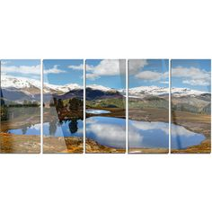 DesignArt 'Lake with Pine Trees Reflecting Sky' 5 Piece Photographic Print on Canvas Set