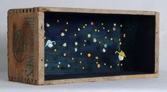 """Henry and Olive Drifted Closer H 3.5"""" W 7.5"""" D3"""" mixed media assemblage - Allison May Kiphuth"""