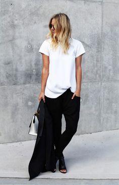 Shoes, purse, track pants, silk blouse, black n white. Simplicity