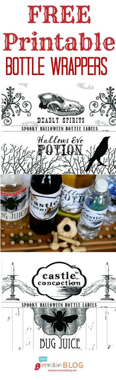 Halloween Printable Bottle wrappers | TodaysCreativeBlog.net Halloween Bottle Labels, Halloween Potions, Easy Halloween, Halloween Treats, Halloween Projects, Holidays Halloween, Halloween Party, Halloween Decorations, Halloween Apothecary