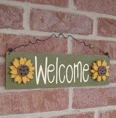Welcome sign with sunflowers Green for home and office by lisabees, $16.50
