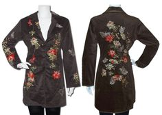 Paparazzi Jacket, Floral and Butterfly Embroidered Jacket. Style#: MJ-4182 BROWN Price: $ 84.00. For this and more styles visit our webiste WWW.BIZENT.NET