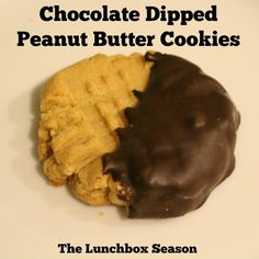 Chocolate Dipped Peanut Butter Cookies Recipe on The Lunchbox Season