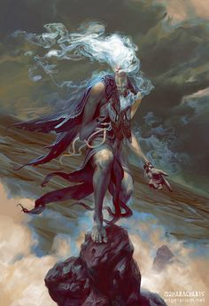 Sathariel, -Angel of Deception- by Peter Mohrbacher - Fallen Angel - the Watcher of the 20 leaders of the 200 fallen angels mentioned in the Book of Enoch Character Inspiration, Character Art, Character Design, Fantasy Creatures, Mythical Creatures, Dark Fantasy, Fantasy Art, Peter Mohrbacher, Angels And Demons