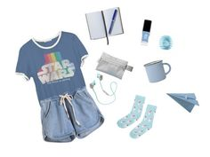 """""""Blue"""" by dear-leanne on Polyvore featuring Junk Food Clothing, Smythson, canvas, Accessorize, Athleta, CB2, JINsoon and Eos"""