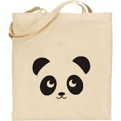 PANDA -  COOL NATURAL COTTON TOTE SHOPPING / SCHOOL BAG:                                                                                                                                                                                 Plus