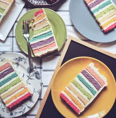 """gastrogirl: """" rainbow layer cake with cream cheese frosting. """""""