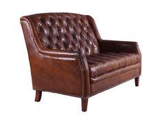 Ledersofa Cardiff aus Vintage Leder im Chesterfield-Look