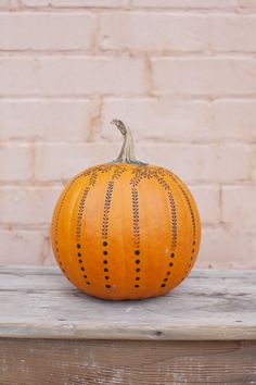 Stencil painted pumpkin