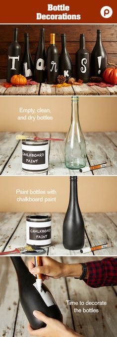 Don't throw away those empty wine bottles. A little chalkboard paint and chalk marker go a long way when it comes to decorating.