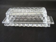 Fostoria American Butter Dish. I use this for the holidays with my good china. Just love this old depression glass