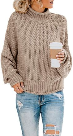 Amazing offer on Ybenlow Womens Turtleneck Sweaters Batwing Long Sleeve Casual Loose Oversized Chunky Knit Pullover Jumper Tops online - Topofferideas Oversize Pullover, Chunky Knit Jumper, Slouchy Sweater, Long Sweaters, Sweaters For Women, Oversized Sweaters, Pullover Sweaters, Winter Sweaters, Knitting Sweaters