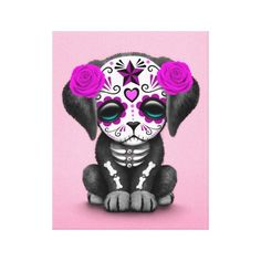 Cute Purple Day of the Dead Puppy Dog Pink Gallery Wrap Canvas