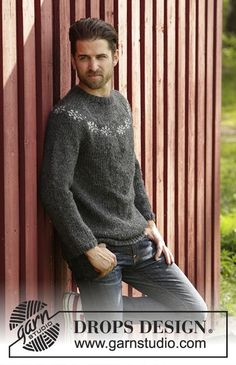 Free knitting patterns and crochet patterns by DROPS Design Drops Design, Fair Isle Knitting, Free Knitting, Sweater Knitting Patterns, Knit Patterns, Crochet Design, Magazine Drops, Mens Jumpers, Knit In The Round