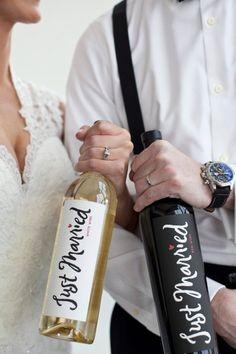 Just Married Wine Bottles.