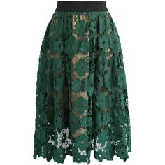 Chicwish Floral Reverie Crochet Midi Skirt in Green ($51) ❤ liked on Polyvore featuring skirts, green, sheer skirt, transparent skirt, green midi skirt, calf length skirts and crochet midi skirt