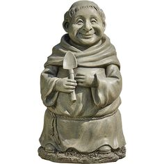 """MONK WITH SHOVEL OUTDOOR STATUE - 12"""""""