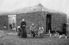 "Prairie Pioneers, Sod Hut, circa 1880 - ""Prairie pioneers often lived in sod houses at first. There were no trees to provide logs, so turf was dug up in the shape of bricks. Glass windows were a rare luxury."" - With a sod roof arrangement, I have read that interior 'rain' occured for a day or two after plentiful outdoor rains."
