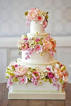 Floral Wedding Cakes - Check out these 18 outstanding white and colorful wedding cake designs, take inspiration from our favorites fondant flower wedding cakes! Fondant Wedding Cakes, Floral Wedding Cakes, Wedding Cakes With Cupcakes, Elegant Wedding Cakes, Wedding Cakes With Flowers, Floral Cake, Wedding Cake Designs, Trendy Wedding, Cake With Flowers