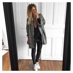 La veste Arrow donc...✔ veste Arrow (veste non doublée à porter comme un gilet ou en manteau avec une veste en cuir en dessous) - top Lou ( mauvais tissu, je vous montrerais le définitif en bourrette de soie ce we) et cuir Erin #eponymcreation #comingsoon