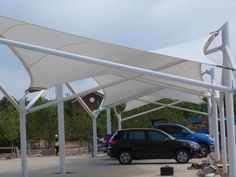 Cable-membrane-tensile-structure canopy for parking. Tensile Structures, Canvas Canopy, Canopy Architecture, Bogor, Urban, Park, Awesome, Outdoor Decor, Cable