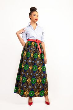 Chic HighWaist African Print Maxi Skirt by DIYANU on Etsy, $49.99