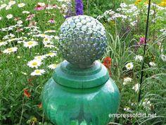 Garden Art DIY: Make your own decorative garden balls: GE waterproof Silicone II sealant, lamp globe, flat decorator's marbles