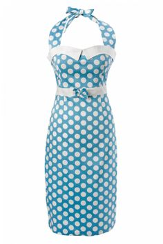 50s style halter pencil Dresses | Collectif Clothing 50s Stella Sweetheart pencil dress Baby Blue polka ...