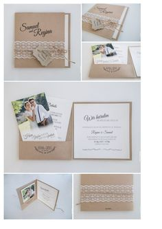 Pocketfolder-Hochzeitseinladung Gestaltung & Druck bei www.photonada.de Kraftpapier Vintage