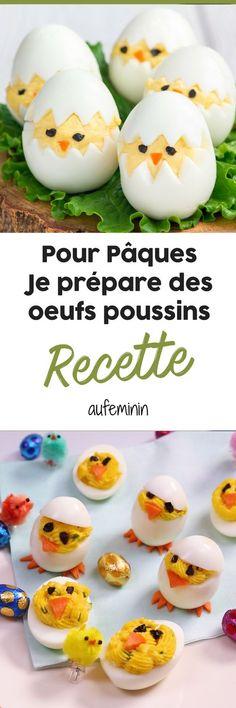 Recette des oeufs mimosa en forme de poussins. Une recette facile à faire pour Pâques avec les enfants. #recette #oeuf #pâques #mimosa #enfant #poussin #cuisine #aufeminin