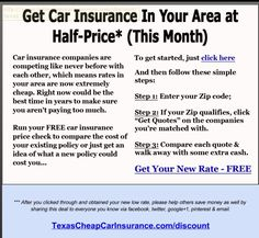 Stop overpaying for Auto Insurance in Texas. Visit http://TexasCheapCarInsurance.com to enter zip and get insurance at up to Half-Price