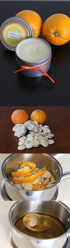 DIY Orange Scented Hand Moisturizer and Lip Balm: SUPPLIES: 2 Paramount Citrus oranges 6 oz. raw cocoa butter 1 tablespoon virgin coconut oil Glass or metal lotion or lip balm containers PREPARATION find in comments.