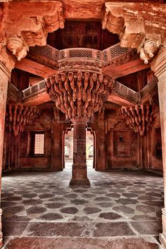 Fatehpur Sikri, Uttar Pradesh. On top of this pillar seat sat the great Mughal king - Akbar.