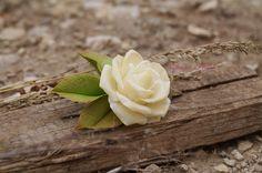 Ivory Rose barrette, cold porcelain