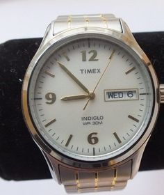 Vintage Timex Indiglo P9 Quartz WR Day\Date Men's Watch with Timex T26461 Band #Timex