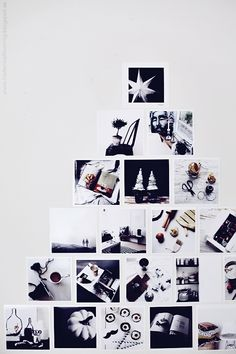 "Clever holiday idea: Make a ""Christmas tree"" out of square photographs on a wall. Could use festive photos or just personal ones."