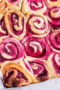 Homemade Raspberry Cinnamon Rolls with Cream Cheese Frosting