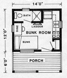 14' X 18' - KENORA F/P, Don't want a porch, push the wall next to the bunk out to the front of the porch, now you have room for a double bed. Better yet make that a murphy bed that pulls down or lifts out of the way.