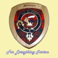 Clan Matheson Tartan Woodcarver Wooden Wall Plaque Matheson Crest 7 x 8
