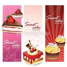 Bolos doces definir banners — Ilustração de Stock #10849588