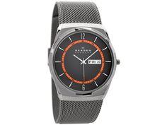 A flash of orange set against the black dial adds dynamism to this slimline 40 x watch set on a heavy mesh tough titanium bracelet. Mesh Bracelet, Bracelet Watch, Bracelets, Oversized Watches, Skagen, Smart Watch, Watches For Men, Jewels, Accessories